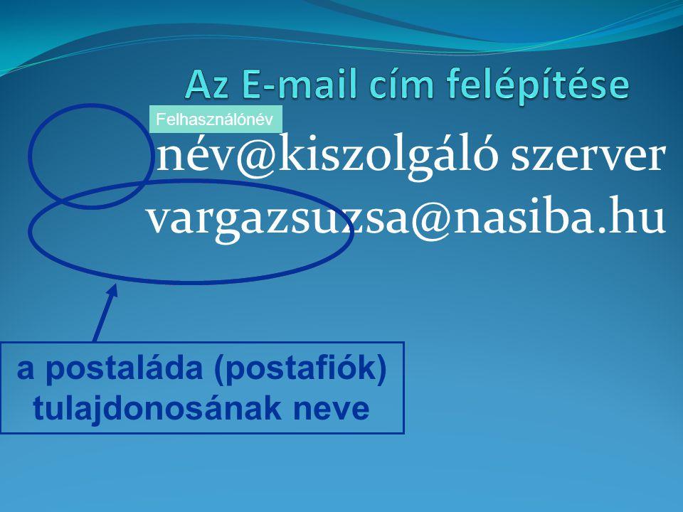 név@kiszolgáló szerver vargazsuzsa@nasiba.hu a postaláda (postafiók) tulajdonosának neve Felhasználónév