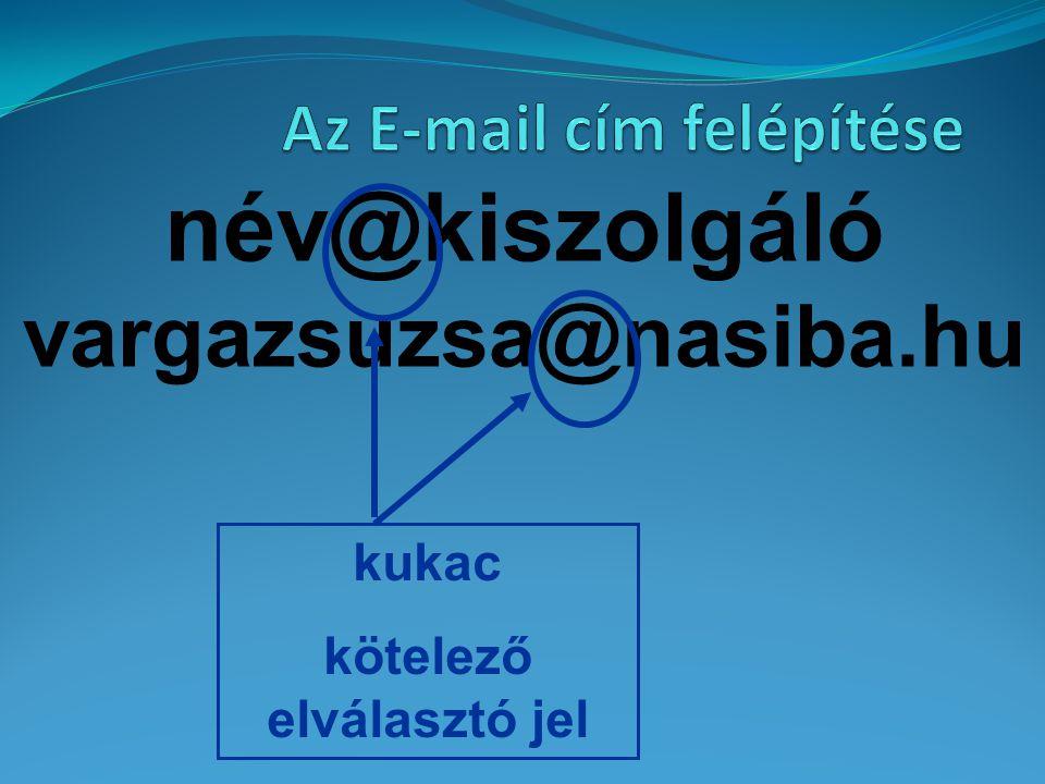 név@kiszolgáló vargazsuzsa@nasiba.hu annak a szolgáltatónak (mail-szervernek) a neve, amelyikhez a felhasználó gépe csatlakozik Szolgáltató neve Mail-szerver neve