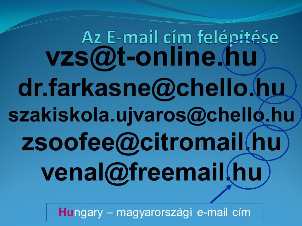 vzs@t-online.hu dr.farkasne@chello.hu szakiskola.ujvaros@chello.hu zsoofee@citromail.hu venal@freemail.hu Hungary – magyarországi e-mail cím