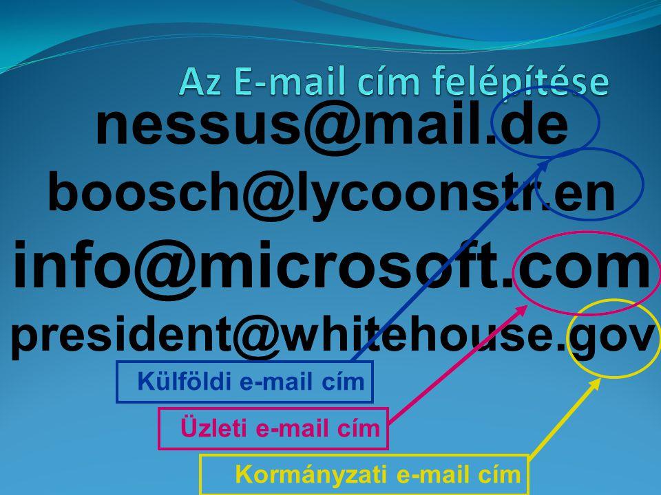 nessus@mail.de boosch@lycoonstr.en info@microsoft.com president@whitehouse.gov Külföldi e-mail cím Üzleti e-mail cím Kormányzati e-mail cím