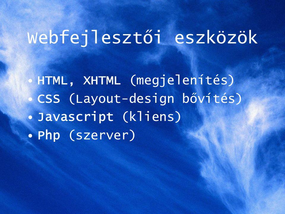 Webfejlesztői eszközök HTML, XHTML (megjelenítés) CSS (Layout-design bővítés) Javascript (kliens) Php (szerver)