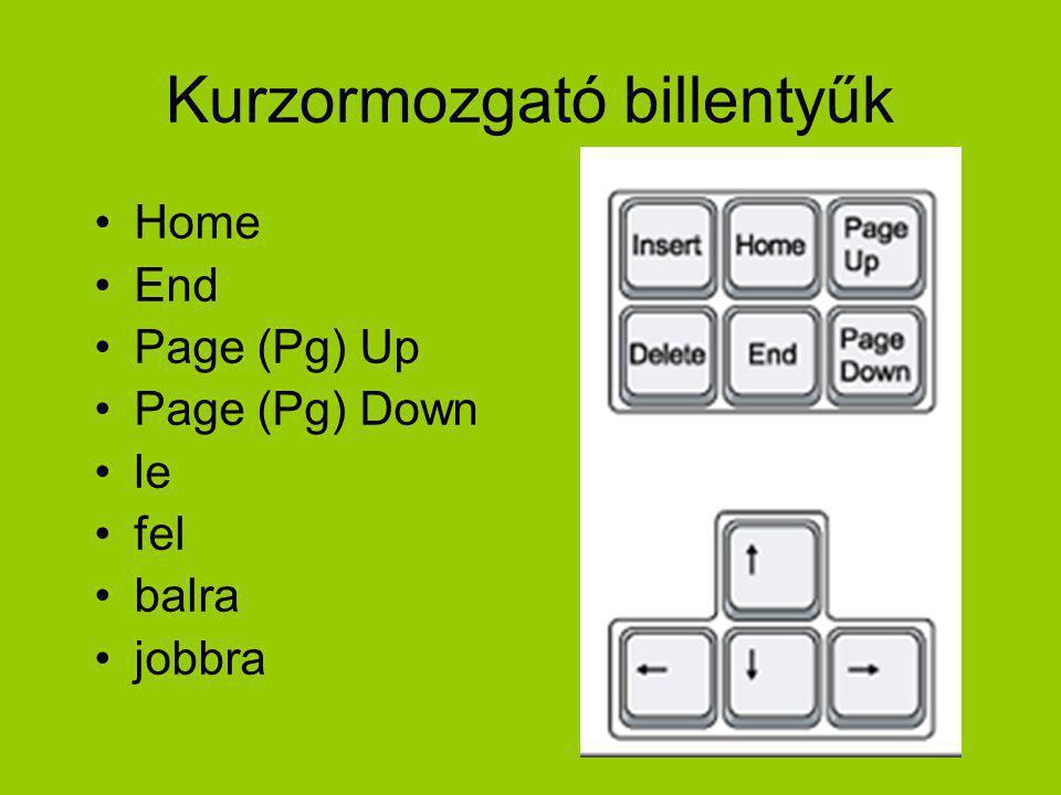 Kurzormozgató billentyűk Home End Page (Pg) Up Page (Pg) Down le fel balra jobbra