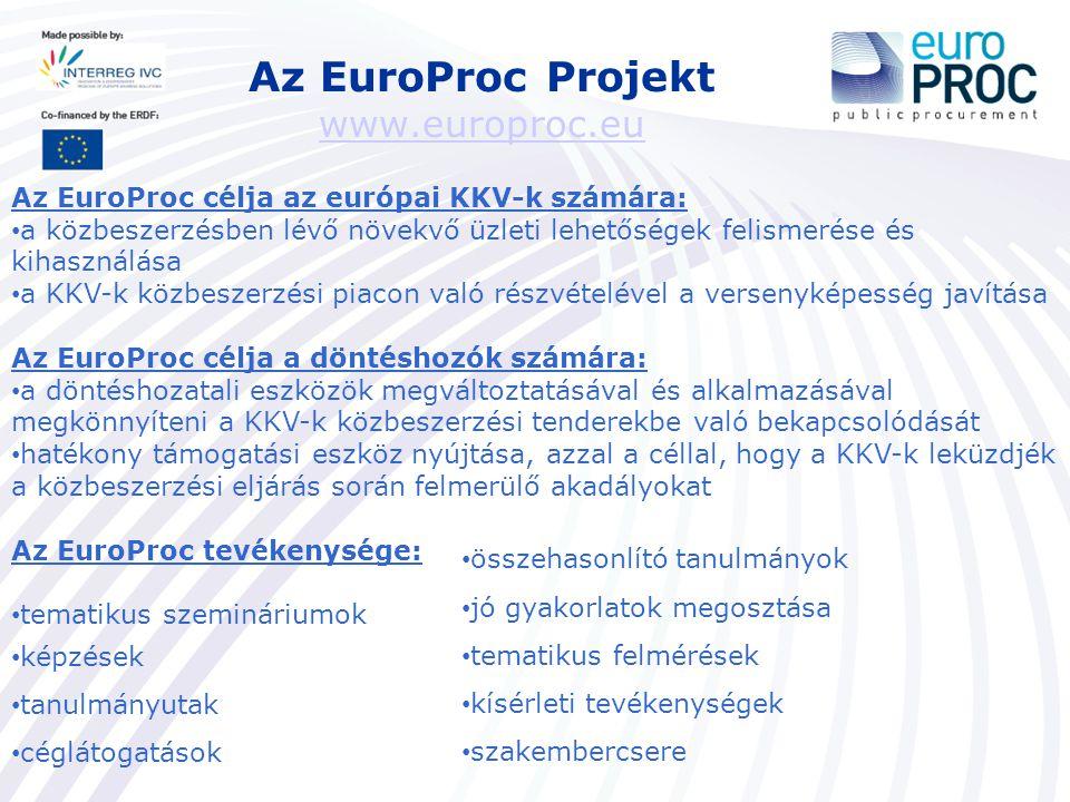 Az EuroProc Projekt www.europroc.eu www.europroc.eu Az EuroProc célja az európai KKV-k számára: a közbeszerzésben lévő növekvő üzleti lehetőségek feli