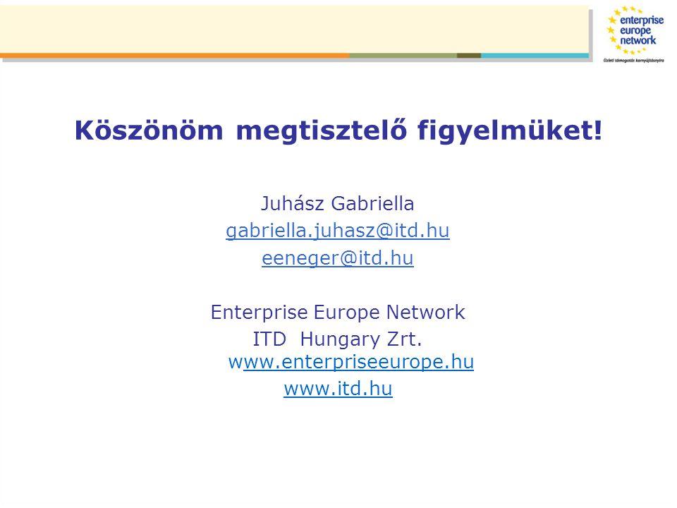 Köszönöm megtisztelő figyelmüket! Juhász Gabriella gabriella.juhasz@itd.hu eeneger@itd.hu Enterprise Europe Network ITD Hungary Zrt. www.enterpriseeur
