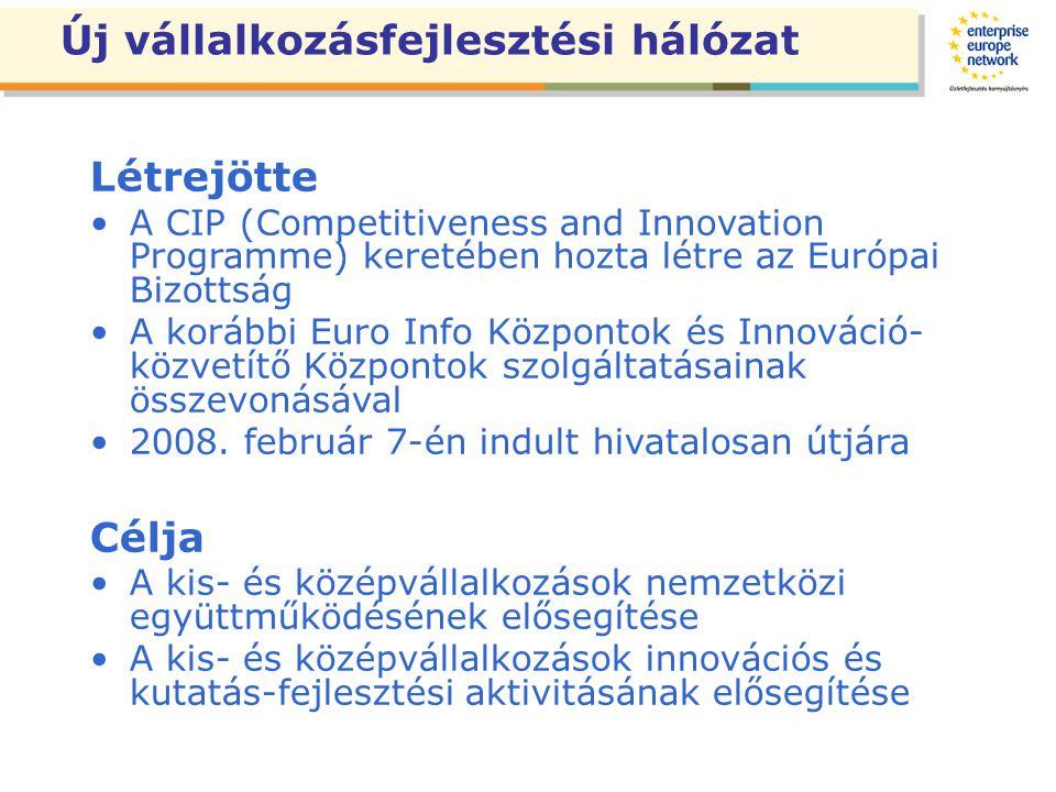 Új vállalkozásfejlesztési hálózat Létrejötte A CIP (Competitiveness and Innovation Programme) keretében hozta létre az Európai Bizottság A korábbi Euro Info Központok és Innováció- közvetítő Központok szolgáltatásainak összevonásával 2008.