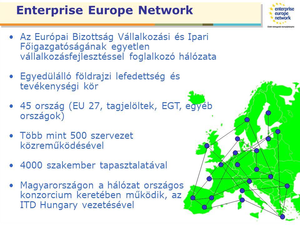 Enterprise Europe Network Az Európai Bizottság Vállalkozási és Ipari Főigazgatóságának egyetlen vállalkozásfejlesztéssel foglalkozó hálózata Egyedülál