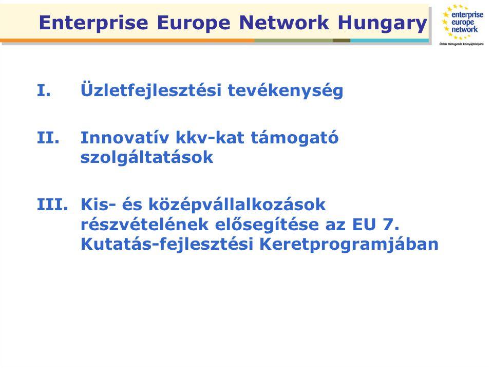 I.Üzletfejlesztési tevékenység II.Innovatív kkv-kat támogató szolgáltatások III.Kis- és középvállalkozások részvételének elősegítése az EU 7. Kutatás-