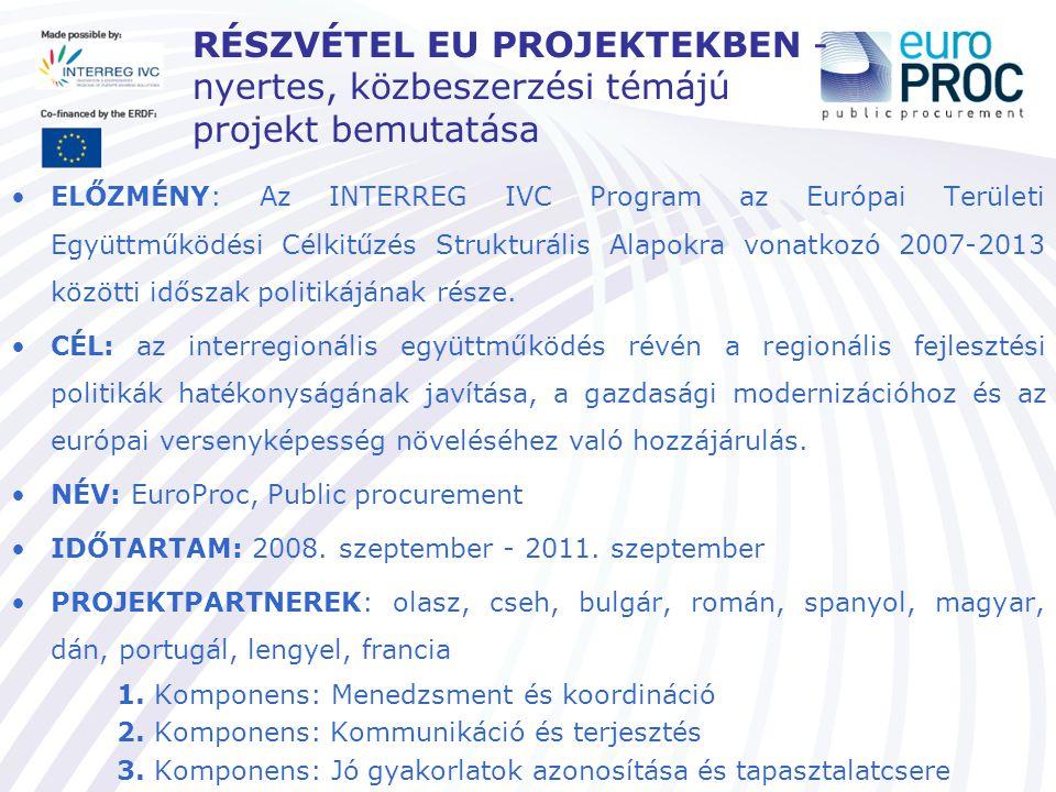 Az EuroProc Projekt www.europroc.eu www.europroc.eu Az EuroProc célja az európai KKV-k számára: a közbeszerzésben lévő növekvő üzleti lehetőségek felismerése és kihasználása a KKV-k közbeszerzési piacon való részvételével a versenyképesség javítása Az EuroProc célja a döntéshozók számára: a döntéshozatali eszközök megváltoztatásával és alkalmazásával megkönnyíteni a KKV-k közbeszerzési tenderekbe való bekapcsolódását hatékony támogatási eszköz nyújtása, azzal a céllal, hogy a KKV-k leküzdjék a közbeszerzési eljárás során felmerülő akadályokat Az EuroProc tevékenysége: tematikus szemináriumok képzések tanulmányutak céglátogatások összehasonlító tanulmányok jó gyakorlatok megosztása tematikus felmérések kísérleti tevékenységek szakembercsere