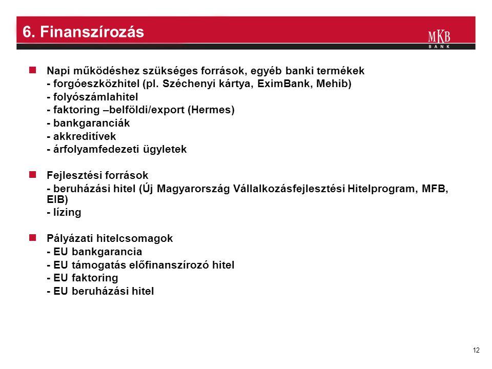 12 6. Finanszírozás Napi működéshez szükséges források, egyéb banki termékek - forgóeszközhitel (pl. Széchenyi kártya, EximBank, Mehib) - folyószámlah
