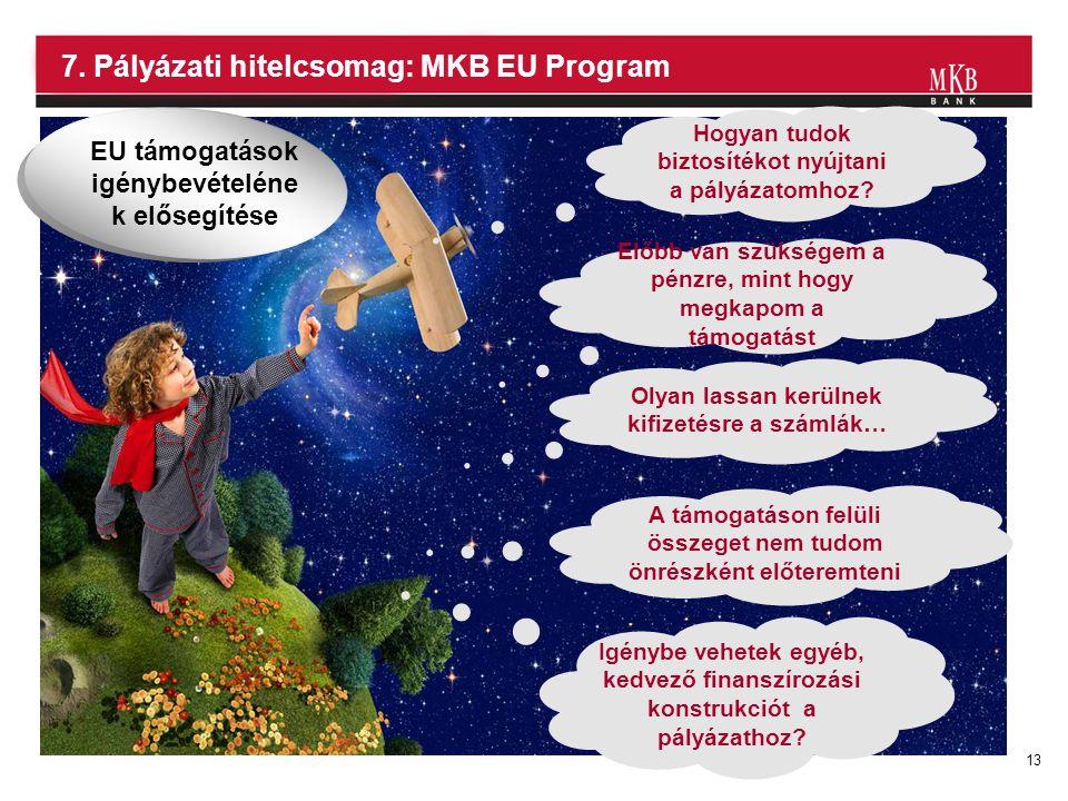 13 7. Pályázati hitelcsomag: MKB EU Program Hogyan tudok biztosítékot nyújtani a pályázatomhoz? Előbb van szükségem a pénzre, mint hogy megkapom a tám