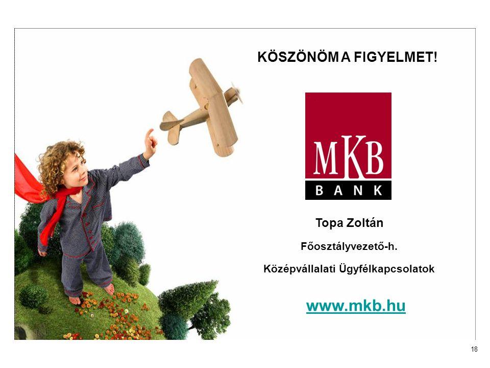 18 www.mkb.hu KÖSZÖNÖM A FIGYELMET! Topa Zoltán Főosztályvezető-h. Középvállalati Ügyfélkapcsolatok