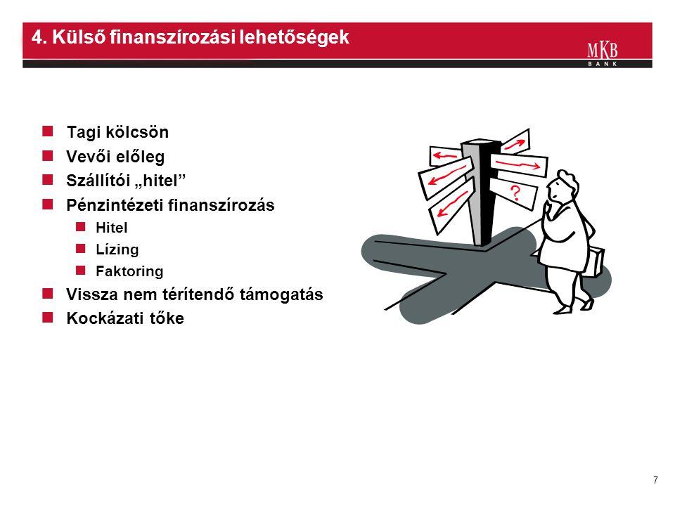 """7 4. Külső finanszírozási lehetőségek Tagi kölcsön Vevői előleg Szállítói """"hitel"""" Pénzintézeti finanszírozás Hitel Lízing Faktoring Vissza nem téríten"""