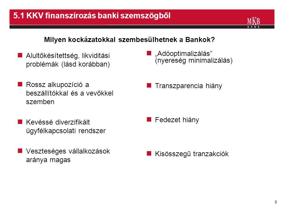 9 5.2 KKV finanszírozás banki szemszögből veszély Pénzügyi kockázat veszély Méretgazdaságosság, kis összegű tranzakciók Biztosítéki kockázat veszély lehetőség Potenciális növekedési lehetőség Nagy darabszám, alacsony költségű hitelbírálati módszerek Fenti problémák kezelhetők .