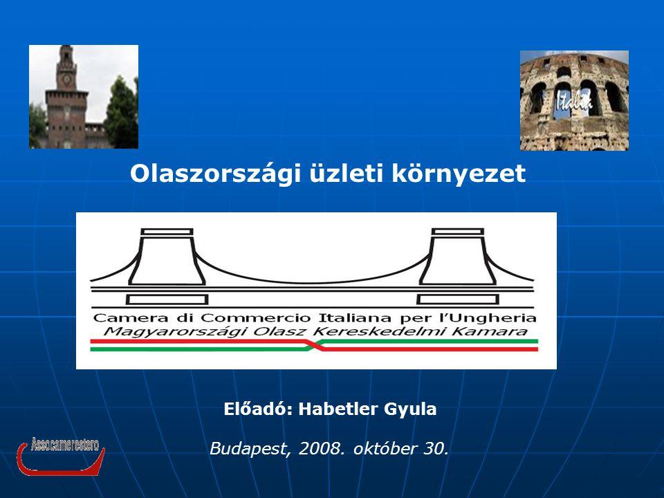Előadó: Habetler Gyula Budapest, 2008. október 30. Olaszországi üzleti környezet