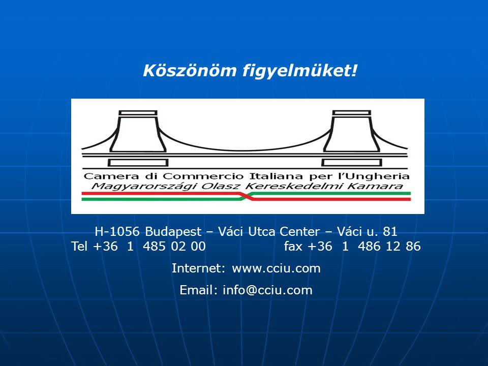 H-1056 Budapest – Váci Utca Center – Váci u. 81 Tel +36 1 485 02 00 fax +36 1 486 12 86 Internet: www.cciu.com Email: info@cciu.com Köszönöm figyelmük