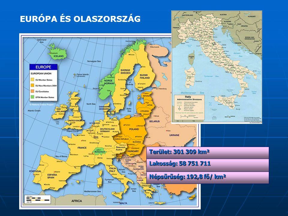 Lakosság: 58 751 711 Népsűrűség: 192,8 fő/ km² Terület: 301 309 km² EURÓPA ÉS OLASZORSZÁG