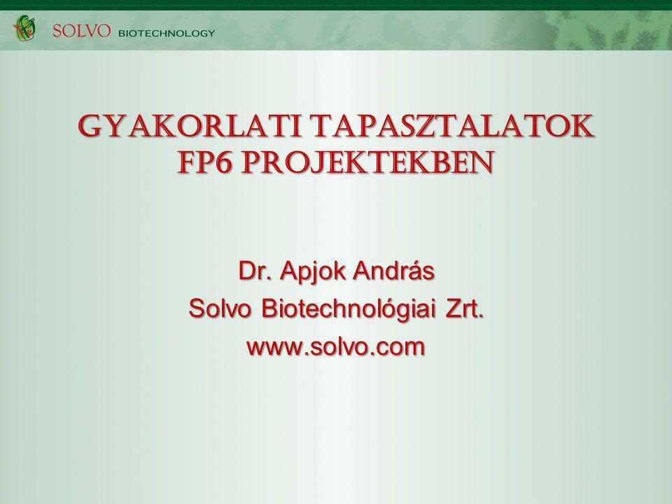 GYAKORLATI TAPASZTALATOK FP6 PROJEKTEKBEN Dr. Apjok András Solvo Biotechnológiai Zrt. www.solvo.com