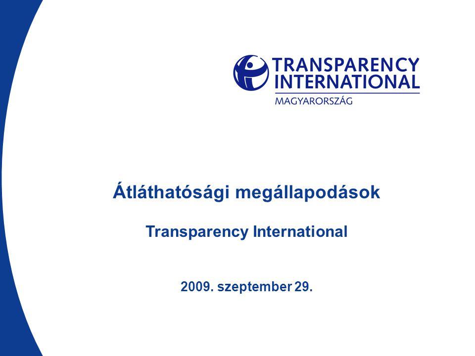 Átláthatósági megállapodások Transparency International 2009. szeptember 29.
