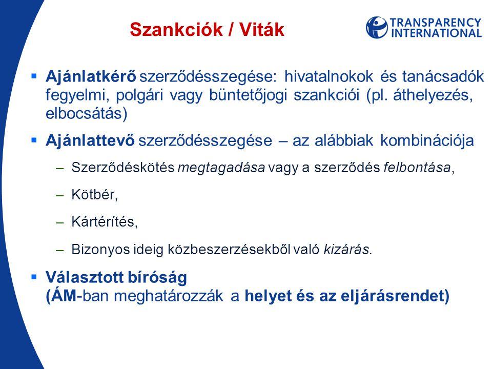 Szankciók / Viták  Ajánlatkérő szerződésszegése: hivatalnokok és tanácsadók fegyelmi, polgári vagy büntetőjogi szankciói (pl.