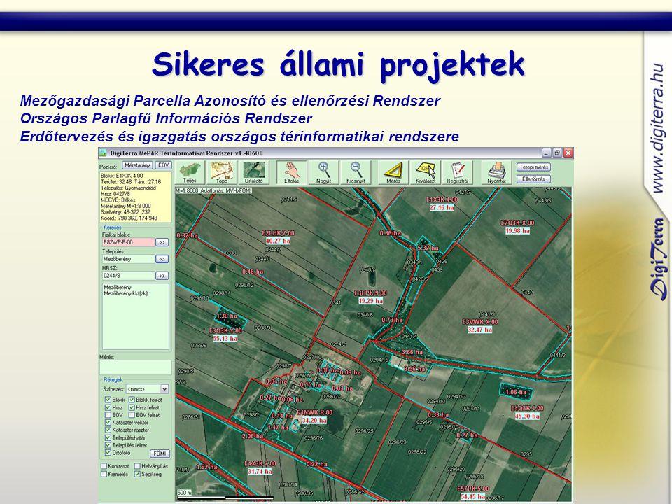 Sikeres állami projektek Mezőgazdasági Parcella Azonosító és ellenőrzési Rendszer Országos Parlagfű Információs Rendszer Erdőtervezés és igazgatás országos térinformatikai rendszere