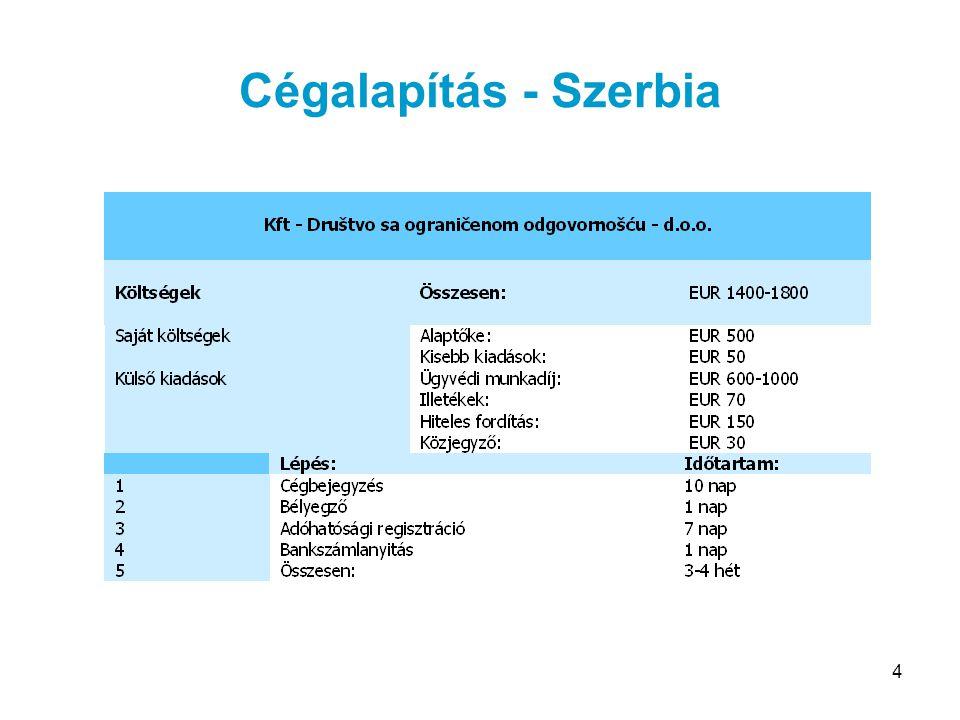 15 Adózás – Egyéb adók SzerbiaSzlovákiaRomániaMagyarország ÁFA18%*19%19%*20% SZJA12%***19%16%18-36% Nyereségadó10%19%16%**16% * A legkisebb cégek nem tartoznak az áfa-körbe.