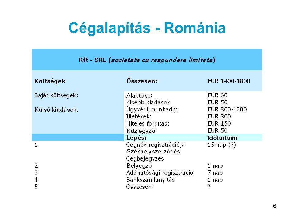 6 Cégalapítás - Románia