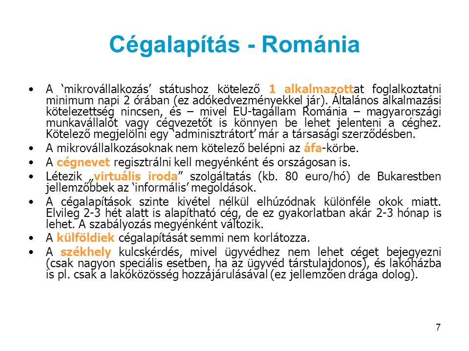 8 Cégalapítás - Szlovákia