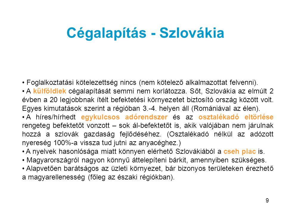 9 Foglalkoztatási kötelezettség nincs (nem kötelező alkalmazottat felvenni). A külföldiek cégalapítását semmi nem korlátozza. Sőt, Szlovákia az elmúlt