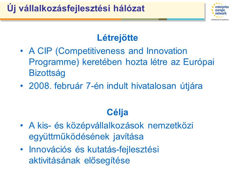 Új vállalkozásfejlesztési hálózat Létrejötte A CIP (Competitiveness and Innovation Programme) keretében hozta létre az Európai Bizottság 2008.