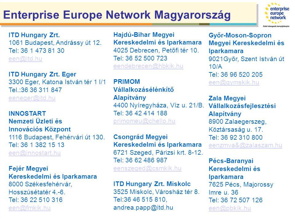 I.Vállalkozásfejlesztés II.Innováció, technológia-transzfer támogatása III.Az EU 7.Kutatás-Fejlesztési Programjában való részvétel elősegítése Enterprise Europe Network tevékenysége