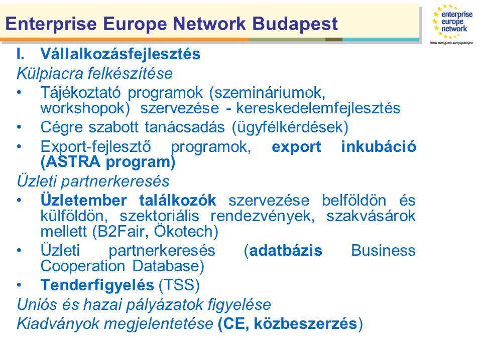 Enterprise Europe Network Budapest I.Vállalkozásfejlesztés Külpiacra felkészítése Tájékoztató programok (szemináriumok, workshopok) szervezése - kereskedelemfejlesztés Cégre szabott tanácsadás (ügyfélkérdések) Export-fejlesztő programok, export inkubáció (ASTRA program) Üzleti partnerkeresés Üzletember találkozók szervezése belföldön és külföldön, szektoriális rendezvények, szakvásárok mellett (B2Fair, Ökotech) Üzleti partnerkeresés (adatbázis Business Cooperation Database) Tenderfigyelés (TSS) Uniós és hazai pályázatok figyelése Kiadványok megjelentetése (CE, közbeszerzés)