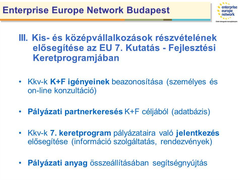 III. Kis- és középvállalkozások részvételének elősegítése az EU 7.