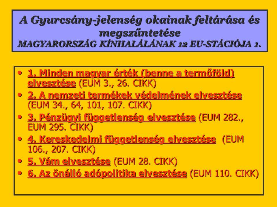 A Gyurcsány-jelenség okainak feltárása és megszűntetése MAGYARORSZÁG KÍNHALÁLÁNAK 12 EU-STÁCIÓJA 1. 1. Minden magyar érték (benne a termőföld) elveszt