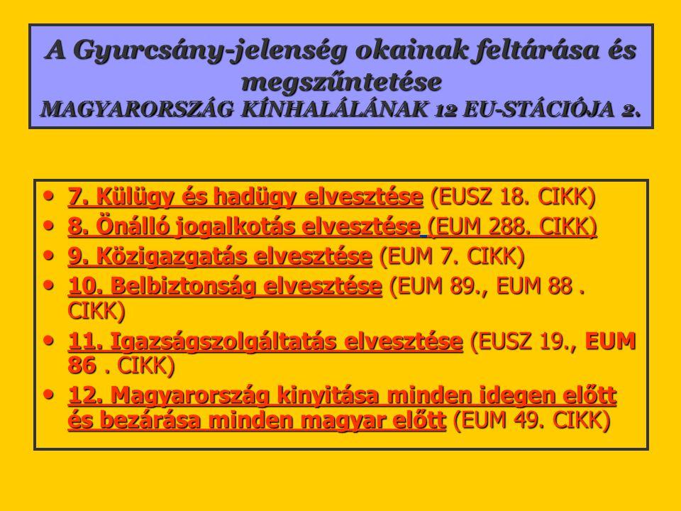 A Gyurcsány-jelenség okainak feltárása és megszűntetése MAGYARORSZÁG KÍNHALÁLÁNAK 12 EU-STÁCIÓJA 2. 7. Külügy és hadügy elvesztése (EUSZ 18. CIKK) 7.