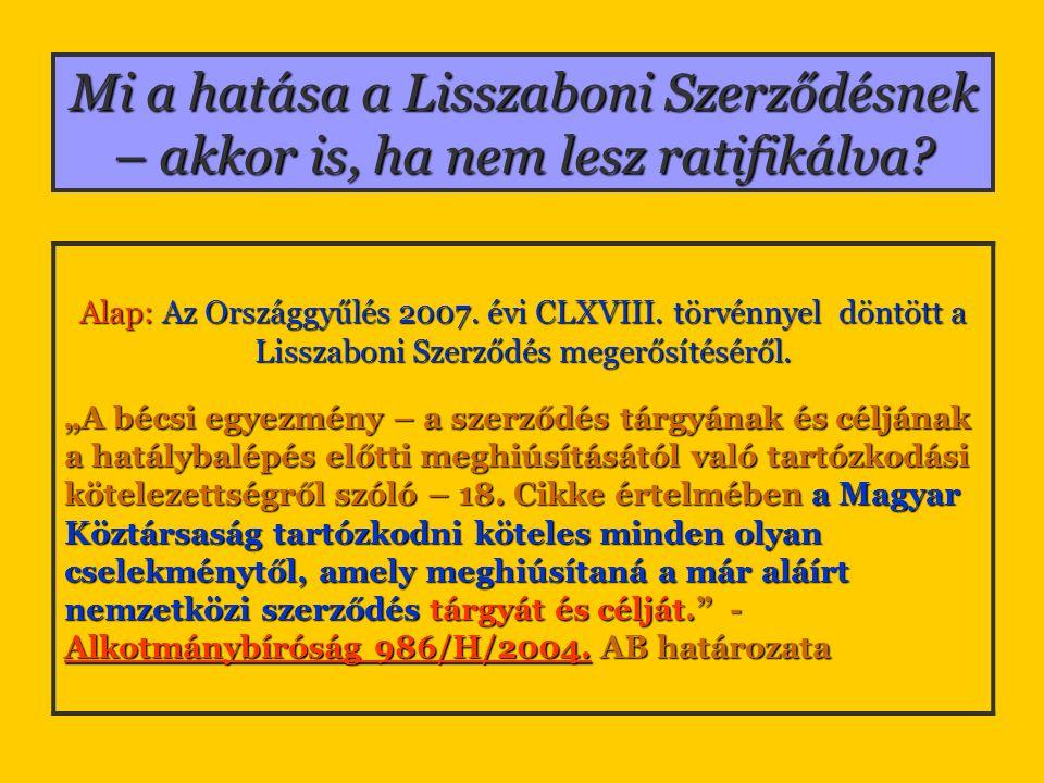 Mi a hatása a Lisszaboni Szerződésnek – akkor is, ha nem lesz ratifikálva? Alap: Az Országgyűlés 2007. évi CLXVIII. törvénnyel döntött a Lisszaboni Sz