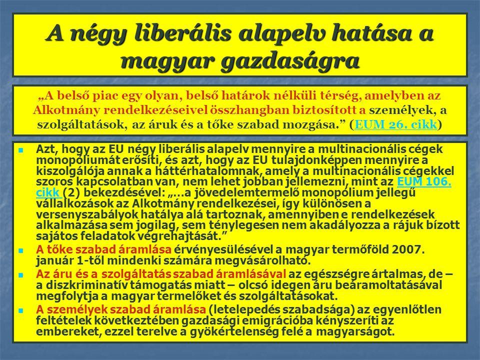 A négy liberális alapelv hatása a magyar gazdaságra Azt, hogy az EU négy liberális alapelv mennyire a multinacionális cégek monopóliumát erősíti, és a