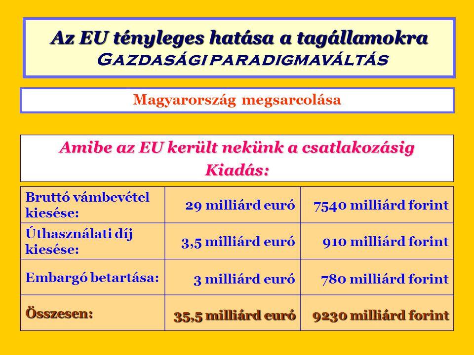 Magyarország megsarcolása Amibe az EU került nekünk a csatlakozásig Bevétel: (PHARE, ISPA stb.) 1991 és 2003 között maximum 1,4 milliárd euró 364 milliárd forint Kiadás35,5 milliárd euró9230 milliárd forintEgyenleg: 34,1 milliárd euró 8866 milliárd forint Egyenleg Az EU tényleges hatása a tagállamokra Az EU tényleges hatása a tagállamokra Gazdasági paradigmaváltás