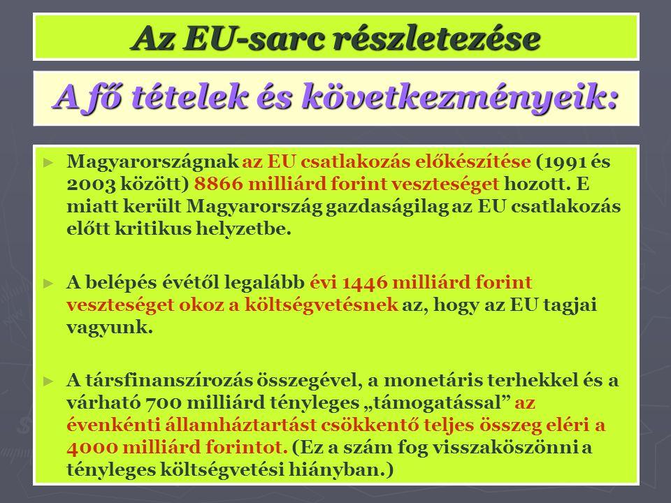 Az EU-sarc részletezése A fő tételek és következményeik: ► Magyarországnak az EU csatlakozás előkészítése (1991 és 2003 között) 8866 milliárd forint v