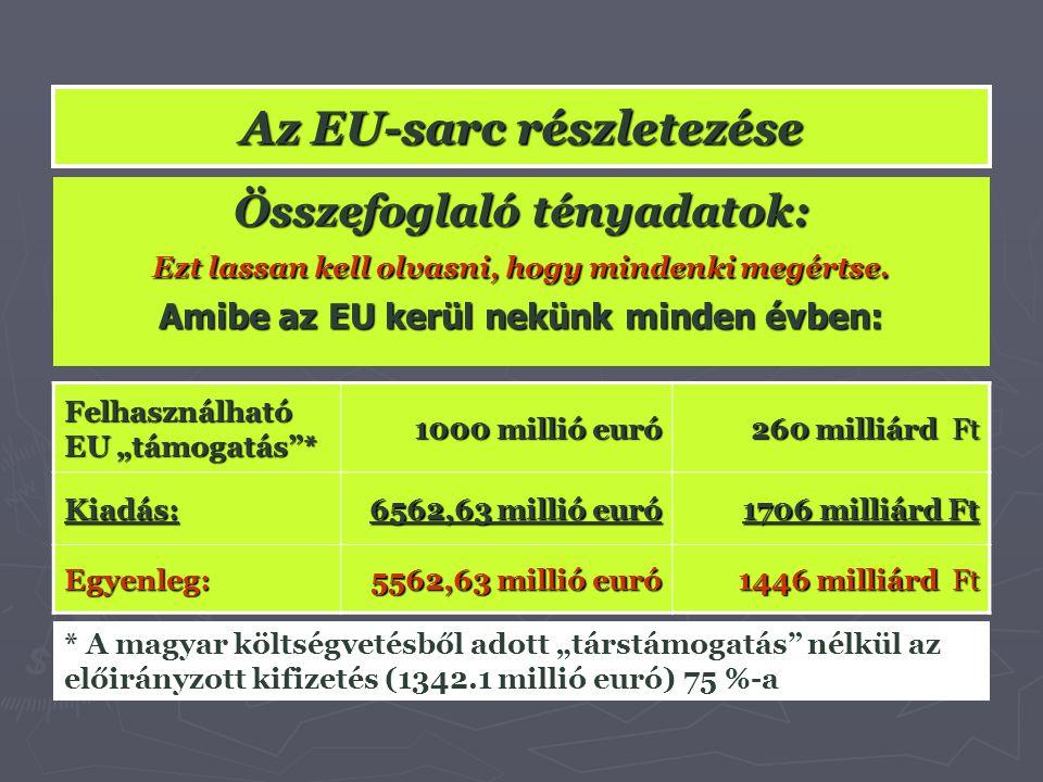 """Az EU-sarc részletezése Felhasználható EU """"támogatás""""* 1000 millió euró 260 milliárd Ft Kiadás: 6562,63 millió euró 1706 milliárd Ft Egyenleg: 5562,63"""
