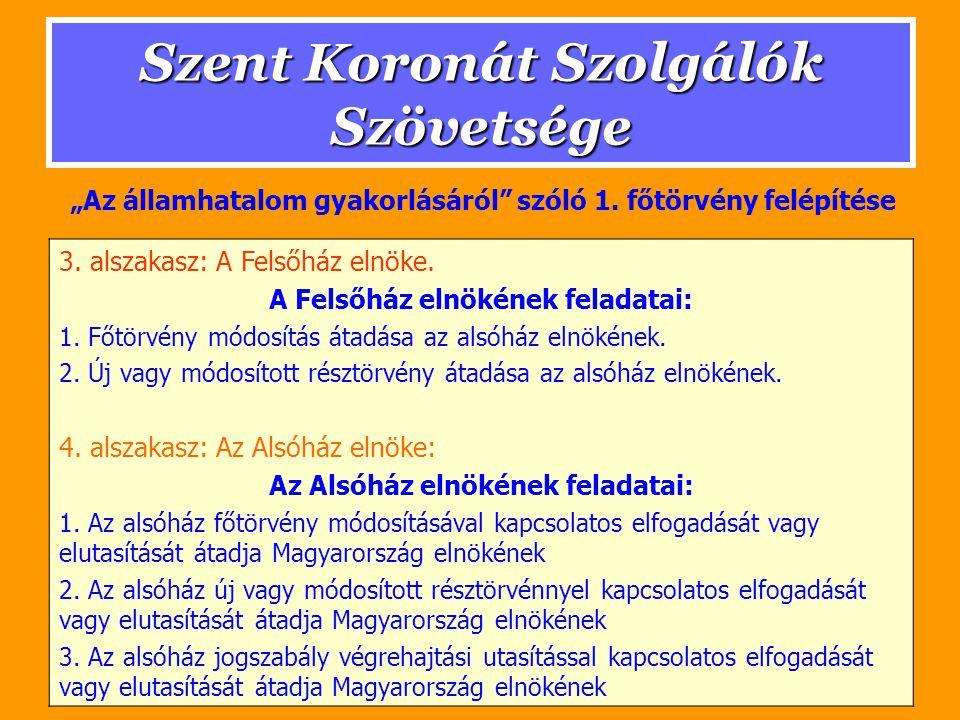 Szent Koronát Szolgálók Szövetsége 3. alszakasz: A Felsőház elnöke.