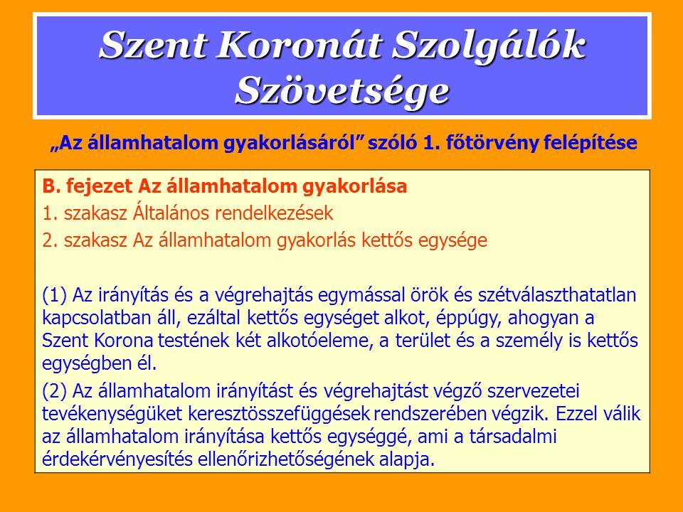 Szent Koronát Szolgálók Szövetsége II.RÉSZ Az államhatalom működése A.