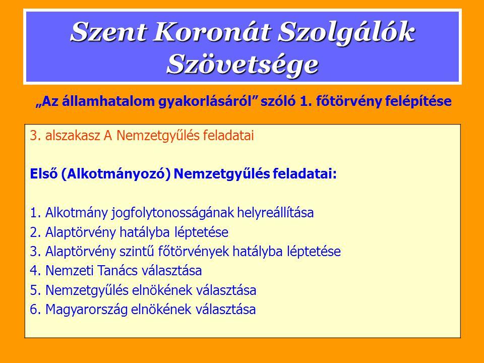 Szent Koronát Szolgálók Szövetsége 3.alszakasz: A Felsőház elnöke.