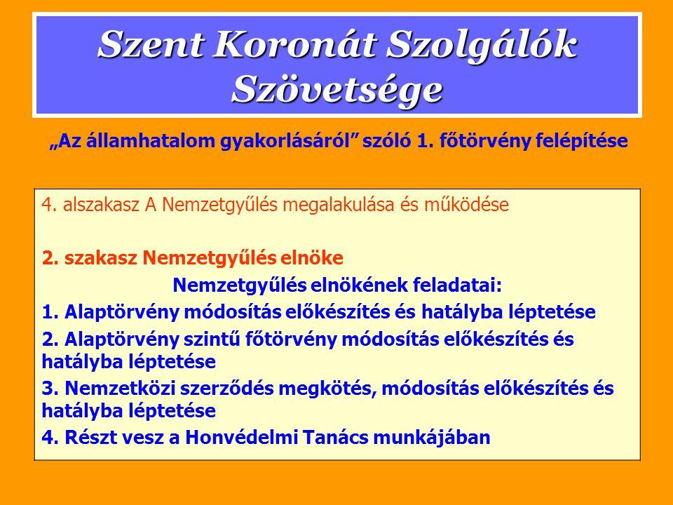 Szent Koronát Szolgálók Szövetsége 3.szakasz Nemzeti Tanács Nemzeti Tanács feladatai: 1.