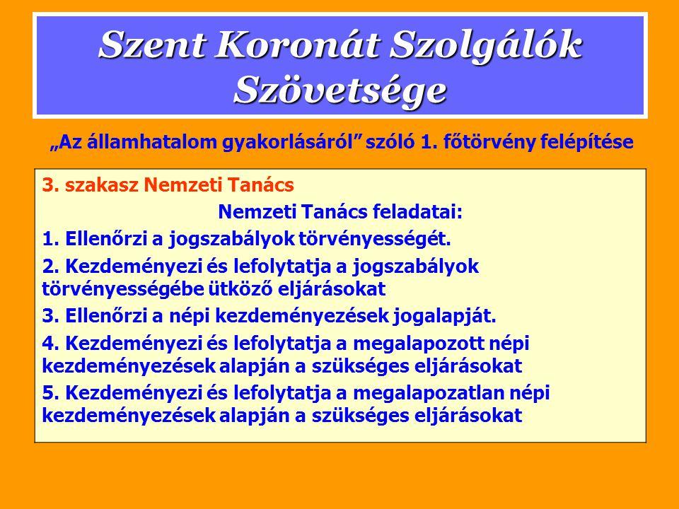 Szent Koronát Szolgálók Szövetsége 3. szakasz Nemzeti Tanács Nemzeti Tanács feladatai: 1.