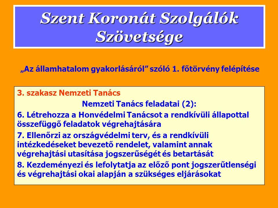 Szent Koronát Szolgálók Szövetsége 3. szakasz Nemzeti Tanács Nemzeti Tanács feladatai (2): 6.