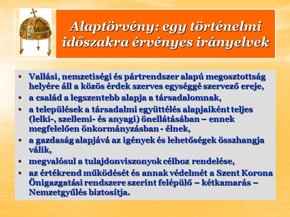 Alaptörvény: egy történelmi időszakra érvényes irányelvek Vallási, nemzetiségi és pártrendszer alapú megosztottság helyére áll a közös érdek szerves e