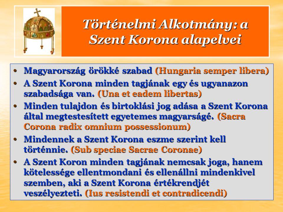 Magyarország örökké szabad (Hungaria semper libera) Magyarország örökké szabad (Hungaria semper libera) A Szent Korona minden tagjának egy és ugyanazon szabadsága van.