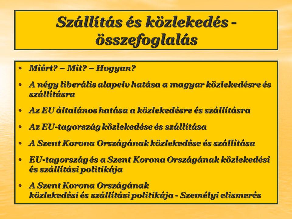 Szállítás és közlekedés - összefoglalás Miért? – Mit? – Hogyan? Miért? – Mit? – Hogyan? A négy liberális alapelv hatása a magyar közlekedésre és száll