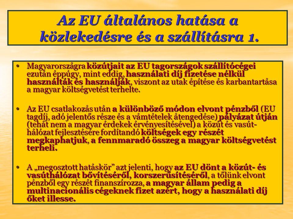 Az EU általános hatása a közlekedésre és a szállításra 1. Magyarországra közútjait az EU tagországok szállítócégei ezután éppúgy, mint eddig, használa