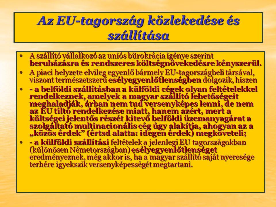 Az EU-tagország közlekedése és szállítása A szállító vállalkozó az uniós bürokrácia igénye szerint beruházásra és rendszeres költségnövekedésre kényszerül.